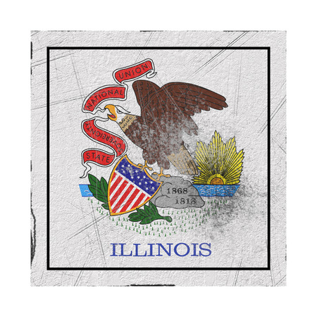 3d rendering of an Illinois State flag on a rusty surface