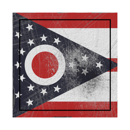 3d rendering of an Ohio State flag on a rusty surface