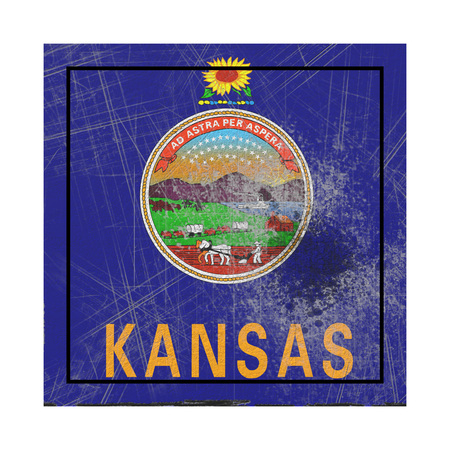 3d rendering of a Kansas State flag on a rusty surface Stock Photo