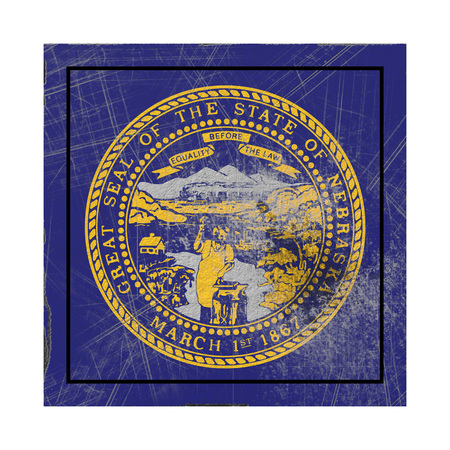 3d rendering of a Nebraska State flag on a rusty surface Stock Photo - 121006837