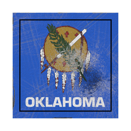 3d rendering of an Oklahoma State flag on a rusty surface Stock Photo - 121006836