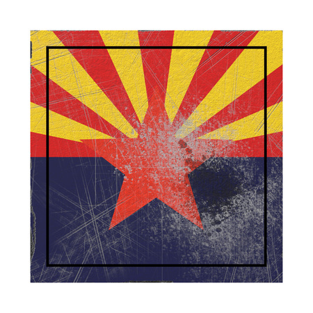 3d rendering of an Arizona State flag on a rusty surface