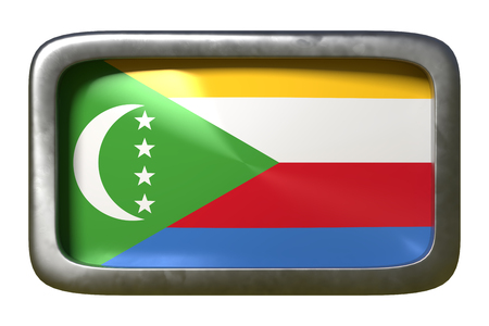 3d rendering of an Union of the Comoros flag on a rusty sign isolated on white background