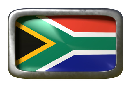 3d rendering of a South Africa flag on a rusty sign isolated on white background