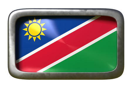 3d rendering of a Republic of Namibia flag on a rusty sign isolated on white background