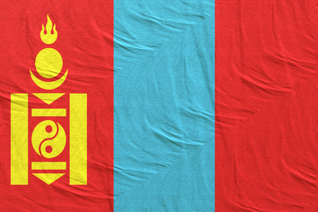 3d rendering of a Mongolia flag silk Stock Photo