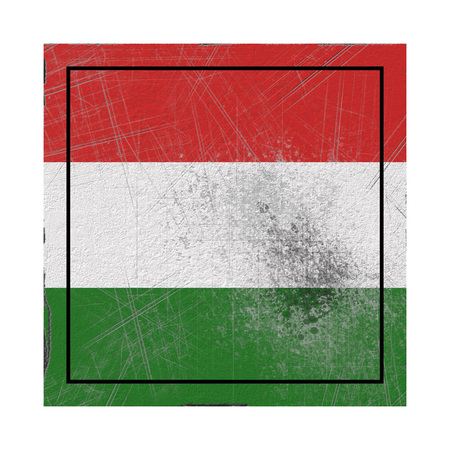 3d rendering of a Hungary country flag on a rusty surface