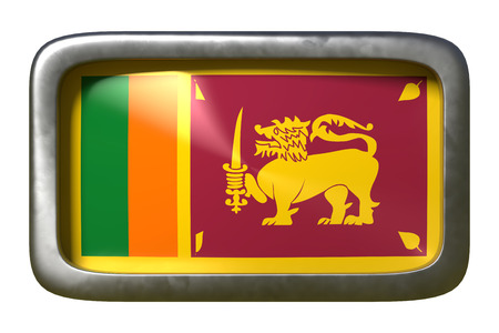 3d rendering of a Sri Lanka flag on a rusty sign isolated on white background