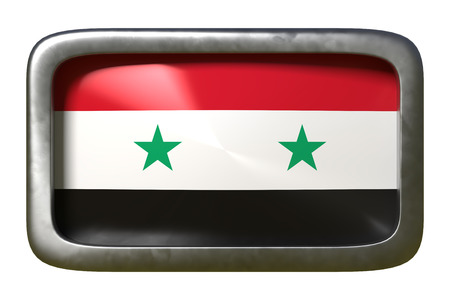3d rendering of a Syria flag on a rusty sign isolated on white background