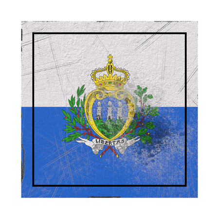 3d rendering of a San Marino country flag on a rusty surface Banco de Imagens