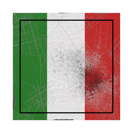 3d rendering of an Italy country flag on a rusty surface