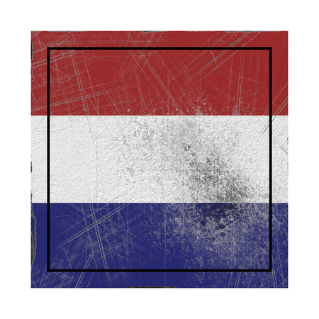 3d rendering of a Holland country flag on a rusty surface