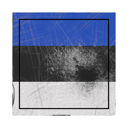 3d rendering of an Estonia country flag on a rusty surface Banco de Imagens