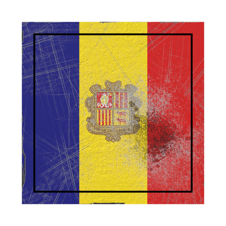 3d rendering of an Andorra country flag on a rusty surface Banco de Imagens