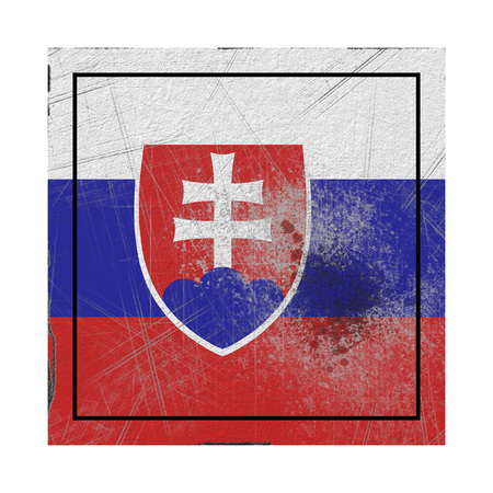 3d rendering of a Slovakia country flag on a rusty surface