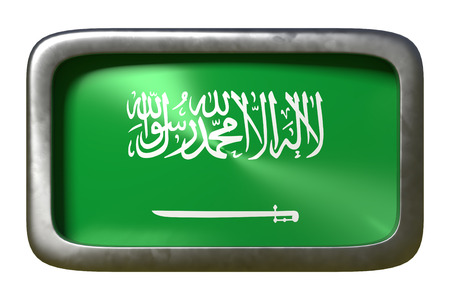 3d rendering of a Saudi Arabia flag on a rusty sign isolated on white background Stock Photo