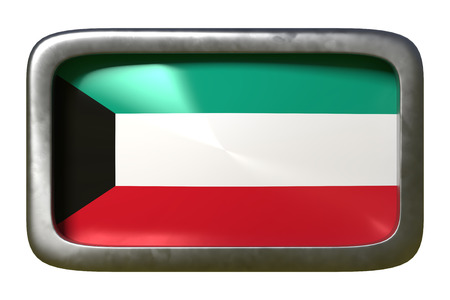 3d rendering of a Kuwait flag on a rusty sign isolated on white background