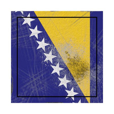 3d rendering of a Bosnia and Herzegovina country flag on a rusty surface
