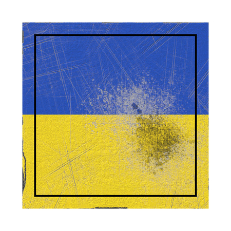 3d rendering of an Ukraine country flag on a rusty surface