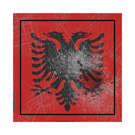 3d rendering of an Albania country flag on a rusty surface
