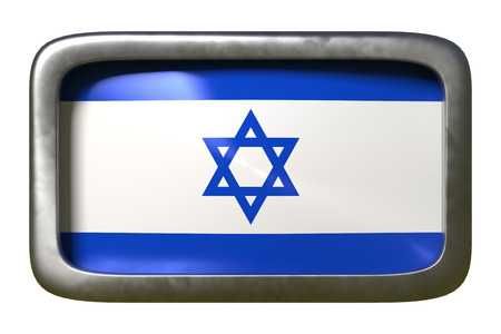 3d rendering of an Israel flag on a rusty sign isolated on white background