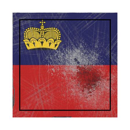 3d rendering of a Liechtenstein country flag on a rusty surface