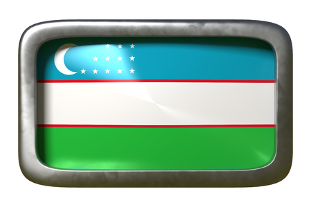 3d rendering of a Uzbekistan flag on a rusty sign isolated on white background Stock Photo