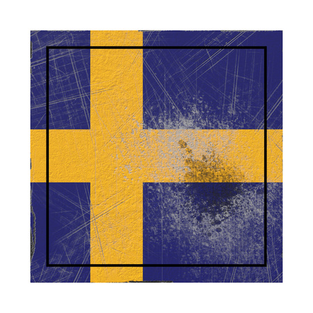 3d rendering of a Sweden country flag on a rusty surface