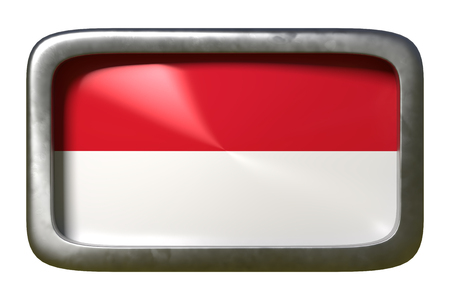 3d rendering of an Indonesia flag on a rusty sign isolated on white background Stock Photo