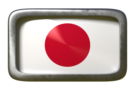 3d rendering of a Japan flag on a rusty sign isolated on white background Stock Photo
