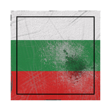 3d rendering of a Bulgaria country flag on a rusty surface Banco de Imagens