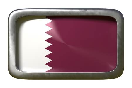 3d rendering of a Qatar flag on a rusty sign isolated on white background