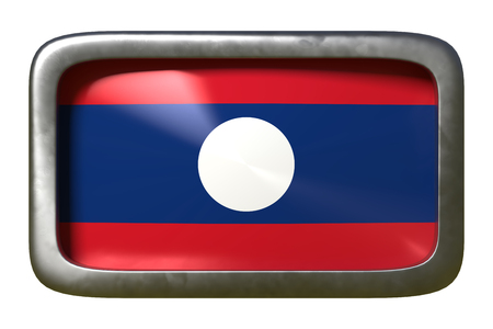 3d rendering of a Laos flag on a rusty sign isolated on white background Stock Photo