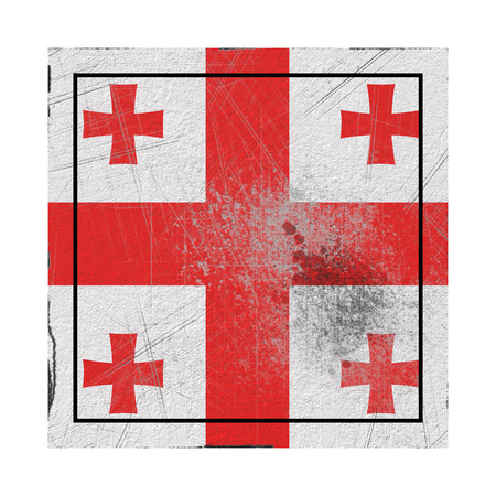 3d rendering of a Georgia country flag on a rusty surface
