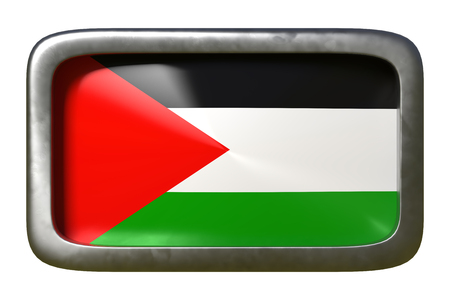 3d rendering of a Palestine flag on a rusty sign isolated on white background