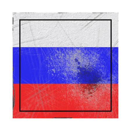 3d rendering of a Russian Federation flag on a rusty surface