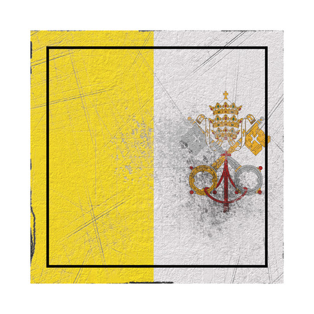 3d rendering of a Vatican country flag on a rusty surface