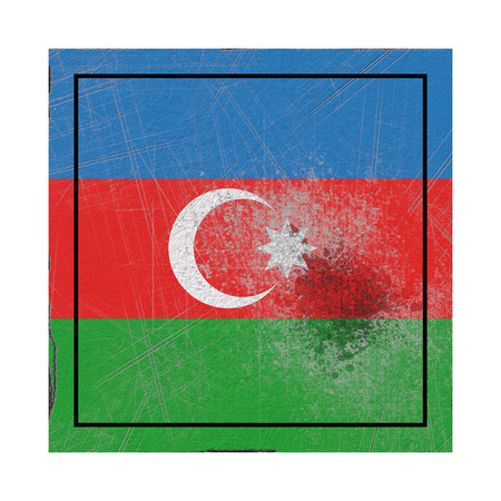 3d rendering of an Azerbaijan country flag on a rusty surface Banco de Imagens