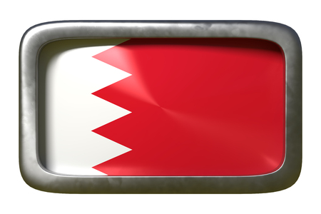 3d rendering of a Bahrain flag on a rusty sign isolated on white background