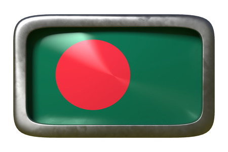 3d rendering of a Bangladesh flag on a rusty sign isolated on white background