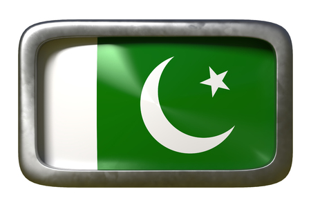 3d rendering of a Pakistan flag on a rusty sign isolated on white background Stock Photo