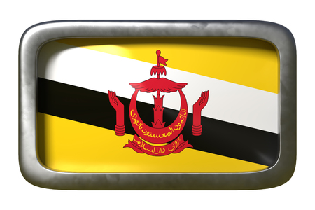 3d rendering of a Brunei flag on a rusty sign isolated on white background