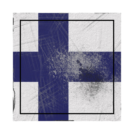3d rendering of a Finland country flag on a rusty surface