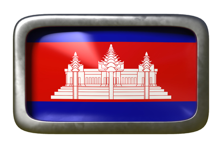 3d rendering of a Cambodia flag on a rusty sign isolated on white background Stock Photo