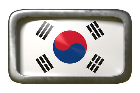 3d rendering of a South Korea flag on a rusty sign isolated on white background