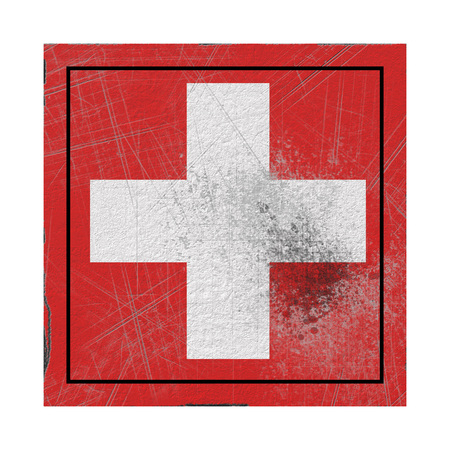 3d rendering of a Switzerland country flag on a rusty surface Banque d'images - 122803297
