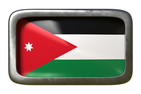 3d rendering of a Jordan flag on a rusty sign isolated on white background Stock Photo