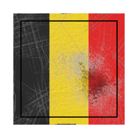 3d rendering of a Belgium country flag on a rusty surface