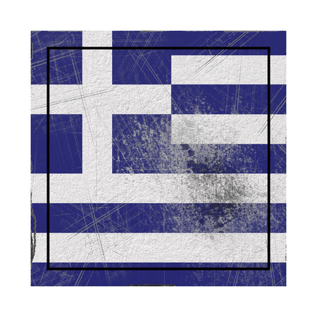 3d rendering of a Greece country flag on a rusty surface