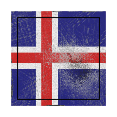 3d rendering of an Iceland country flag on a rusty surface